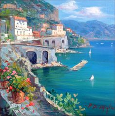 Amalfitan Coast Italy original painting of Paolo De Meglio seascape panorama Amalfi Sorrento Positano Capri Naples - Dipinto quadro.  More, https://www.etsy.com/shop/Modiarte