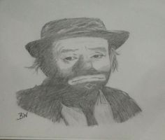 EMMETT KELLY JR/ CELEBRITY REALISM GRAPHITE PENCIL DRAWING  11X14 BY ARTIST BW #Realism