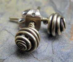 Small Antique Rosebuds Studs by ThePurpleLilyDesigns on Etsy, $8.00
