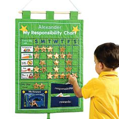 Teach Kids Responsibility Wall Chart/Reward Tracker -   I think this would be a great one to pattern after for the children's charts.