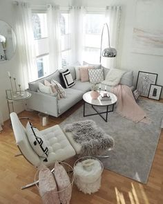 45 Cozy Living Room Ideas and Designs for 2019 - salas - Living Room Inspiration, Room Remodeling, Condo Living Room, Living Room Decor Apartment, Cozy Living Rooms, Girly Living Room, Living Room Remodel, Room Decor, Apartment Decor