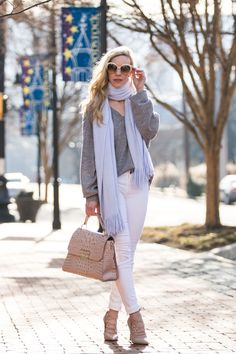 Spring outfit with gray sweater, light blue scarf and white jeans (scarf is only $18!) | Meagan's Moda