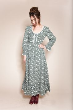 story book 60's cotton floor length dress by wearelonelydots, $32.00