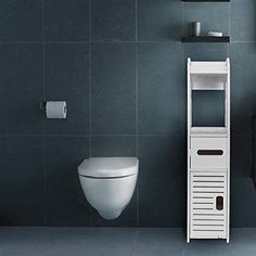 Made with durable and aesthetically pleasing Wood-plastic Board materials that are also easy to clean, dirt-proof and waterproof. the second layer can be used as a toilet paper rack, and the bottom drawer. Over Toilet Storage Cabinet, Bathroom Storage Shelves, Shower Shelves, Bathroom Organisation, Closet Storage, Storage Rack, Storage Cabinets, Organization, Bathroom Standing Shelf