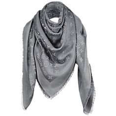 Pre-owned Louis Vuitton Monogram Shine Silver Gray Shawl M75120 (1 605 PLN) ❤ liked on Polyvore featuring accessories, scarves, none, grey scarves, wrap shawl, gray scarves, gray shawl e grey shawl