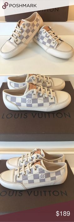 ⭐️LOUIS VUITTON DAMIER GIRLS SNEAKERS AUTHENTIC LOUIS VUITTON DAMIER GIRLS SNEAKERS 100% AUTHENTIC. STUNNING AND STYLISH TOTALLY ON TREND! SO LOVELY WORN ONLY ONCE! THEY ARE TRUE SUPER HIGH END LUXURY. THE ARE A EUROPEAN SIZE 32 WHICH CONVERTS TO A AMERICAN SIZE 1 GIRLS. THE COLOR IS OFF WHITE AND BLUE. BOX NOT AVAILABLE Louis Vuitton Shoes Sneakers