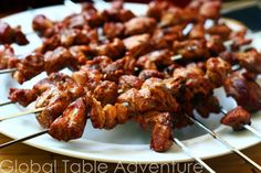 Serves 4 Borasheht (or brochettes/kabobs) can be any sort of skewered meat. In our recipe, tender pieces of lamb are marinated in a spicy sauce. As you bite into the lamb, your mouth fills with a . Kabobs, Skewers, Spicy Sauce, Grilled Meat, Tandoori Chicken, Lamb, Paleo, Spices, Traditional