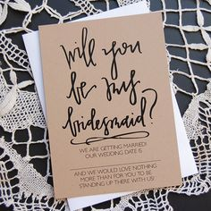 WILL YOU - be my bridesmaid cards. $2.25, via Etsy.