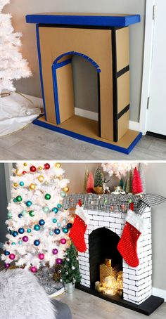 Creative Christmas DIY Ideas Anyone Can Do DIY Faux Cardboard Fireplace Christmas Decoration See it Grinch Christmas Decorations, Christmas Crafts For Kids, Diy Christmas Gifts, Christmas Projects, Simple Christmas, Holiday Crafts, Christmas Yard, Whimsical Christmas, Office Christmas