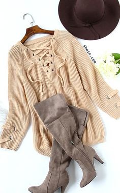 Fall style- Pink v-Neck eyelet lace up loose sweater outfit.