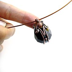 Mokaite pendant handmade wire wrapped collar by StudioLadybird, $46.00