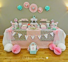 Shabby Chic Home Decor First Birthday Parties, Girl Birthday, First Birthdays, Spa Party, Baby Party, Baby Shower, Cumpleaños Shabby Chic, Ideas Para Fiestas, Fiesta Party