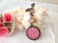 Pink Chinese Calligraphy Pendant Bag Charm Purse by PrettySang, $8.90