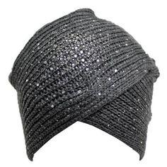 Luxury Divas Gray Heavy Knit Turban Wrap Beanie Hat With Rhinestone Front - Walmart.com