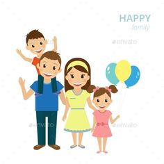 Vector illustration of happy family. Smiling dad, mom and two kids isolated on white. Contains EPS10 and high-resolution JPEG