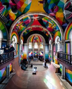 Another epic shot of the abandoned church in Llanera, Asturias, Spain that was recently converted to a skatepark and painted by the great @okudart //