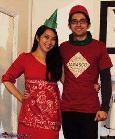 Sriracha and Tabasco Costumes Sexy Halloween, Couples Halloween, Clever Costumes, Unique Costumes, Halloween Costume Contest, Diy Costumes, Halloween Party, Costume Ideas, Halloween Ideas