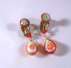Vintage Orange Flower Glass Dangly Drop Clip Earrings