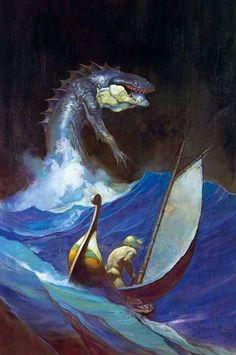 Sea Monster Frank Frazetta, Tarzan, Science Fiction, Jordi Bernet, Armadura Medieval, Brooklyn, Sword And Sorcery, Sea Monsters, Comic Book Artists