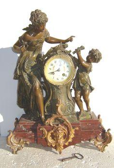 Auguste Moreau , belle pendule en régule , Le Jour de l'An, époque 1900 | eBay