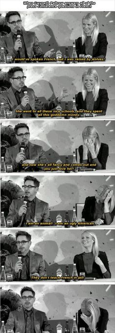 Robert Downey Jr. and Gwenyth Paltrow press conferenc