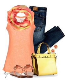 """""""Yellow Coral"""" by lagu ❤ liked on Polyvore featuring American Eagle Outfitters, Majestic, Valextra, Pieces and Tory Burch"""
