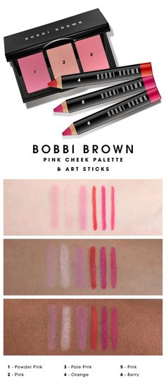 We swatched the Bobbi Brown Pink Cheek Palette and Art Sticks to see how the colors looked on different skin tones. What do you think? #Sephora #swatches
