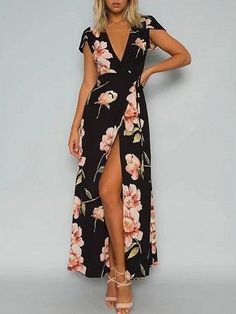 Black Wrap Floral Print Tie Waist Split Maxi Dress
