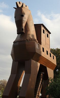 Turkey - Replica of the Trojan Horse in Troy.  Facts about Turkey: Area: 779,452 sq km. Straddles two continents; 3% in Europe (Thrace), 97% in Asia (Anatolia). Also controls the Bosphorus Strait and the Dardanelles, vital sea links between the Black Sea and the Mediterranean. Its strategic position has made the area of prime importance throughout history.Population: 75,705,147. Capital: Ankara. Official language: Turkish. 45 languages.