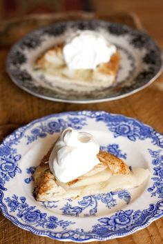 Rustic Pear Galette Topped with Chantilly Cream - It's all the flavors of fall in one lovely bite.