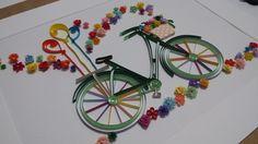 Quilling Çiçekler İçinde Bisiklet