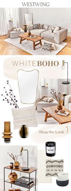 Dürfen wir vorstellen, unser neues Traumpaar des Interiors: Boho und die Farbe Weiß! Die Kombi zieht diese Saison in unser Wohnzimmer ein und verwandelt unseren Lieblingsplatz in eine stimmungsvolle Ruheoase, die zum Entspannen einlädt. Für Boho-Feeling sorgt der Couchtisch aus unbehandeltem Holz und Deko-Arrangements in nussigen Nuancen. Deko-Tipp: Getrocknete Zweige und Blätter als Hingucker in einer Vase arrangieren. // #westwing #boho #white #scandi # Boho Stil, Estilo Boho, Bohemian Living, Lounge, Bath Caddy, Modern, Place Card Holders, Mix Match, Ikat