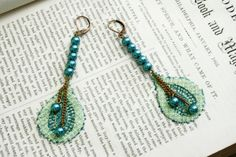 PEACOCK BLUES lace earrings PENNY peacock blues by tinaevarenee on Etsy, $20.00