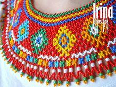 seed bead collar, necklace, art, craft, beadwork, kryza, lemko, DIY, white, yellow, blue, green, red, blue, orange, red, http://irina-haluschak.blogspot.com/