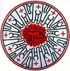 """Jeith Haring """"Untitled"""" 1985 oil and acrylic on canvas 54 inch diameter 137.6 cm diameter"""