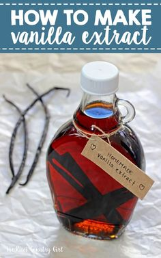 How to make homemade vanilla extract using only vodka and vanilla beans! It makes a great gift and is perfect for all sorts of baking needs - much better (and cheaper) than buying it from the supermarket! How To Make Homemade, Homemade Gifts, Homemade Products, Maple Syrup Bottles, Cooking Tips, Cooking Recipes, Cooking Lamb, Cooking Turkey, Veg Recipes