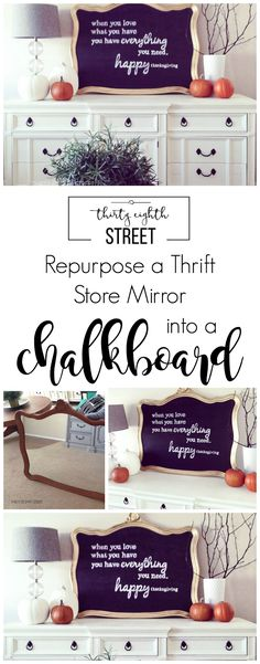 Easy DIY Chalkboard Sign. Learn how to upcycle a mirror, enlarge a print for FREE, and have chalkboard lettering like a pro!