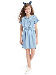 Gap Girls Tencel™ Short Sleeve Shirtdress Denim Size XS