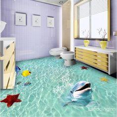 Green Sea and Animals 3D Waterproof Floor Murals
