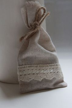 20 Wedding favour muslin cotton bags with lace ribbon detail £40.00