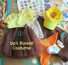 Russell Costume DIY Family Halloween Costumes, Up Halloween, Disney Costumes, Movie Costumes, Halloween Birthday, Girl Costumes, Russell Up Movie, Russel Up, Russell Up Costume