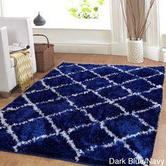 Affinity Hand-woven Trellis Cozy Shag Rug (5' x 8') (Dark Blue), Size 5' x 8'
