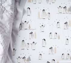 Winter Animal Flannel Crib Fitted Sheet | Pottery Barn Kids I want this for Piper's nursery during winter!