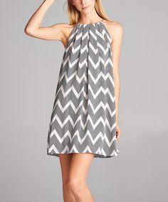Another great find on #zulily! Gray & Off-White Chevron Yoke Swing Dress #zulilyfinds