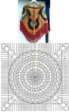 Milena Hooded Poncho Crochet Pattern - Crochet this chunky and warm poncho. Shawl Crochet, Gilet Crochet, Crochet Diy, Crochet Poncho Patterns, Crochet Square Patterns, Crochet Diagram, Crochet Chart, Crochet Squares, Crochet Motif