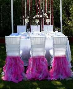 Chair coversWedding chair covers by FloraRosaDesign on Etsy Crystal Garland, Crystal Tree, Glitter Invitations, Hanging Crystals, Event Lighting, Outside Wedding, Wedding Chairs, Ceremony Decorations, Chair Covers