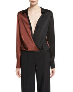 Long-Sleeve Collared Two-Tone Satin Blouse by Diane von Furstenberg at Neiman Marcus.
