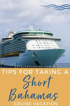 If you are planning a cruise, but not sure if a 7-day cruise is for you then check out our post about the pros and cons of a short Bahamas cruise vacation. A cruise vacation doesn't have to be a big affair. You can always take a short 3- or 4-day cruise to the Bahamas. These cruises still include great excursions and give you a feeling of getting away from it all. Here are the best tips to make the most of your short getaway. Start planning your next adventure today. Bahamas Vacation, Bahamas Cruise, Cruise Vacation, Short Cruises, All Inclusive Resorts, Royal Caribbean, Places To See, Travel Tips, Things To Do