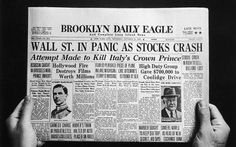 The Wall Street Crash of 1929 which was also known as Black Tuesday began in late October 1929 and was the most devastating stock market crash in the history of the United States Great Depression, Postpartum Depression, Wall Street, Legend Of Bagger Vance, Dust Bowl, Newspaper Headlines, Bonnie Clyde, Pulp Magazine, Locarno