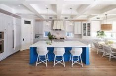 This modern farmhouse style home was interior designed by Noelle Interiors, located in The Tree Section of Manhattan Beach, California. Nautical Kitchen, Stools For Kitchen Island, Kitchen Cabinets, Outdoor Fireplace Designs, Modern Master Bedroom, Dining Room Walls, Modern Farmhouse Style, Luxury Interior Design, Coastal Homes